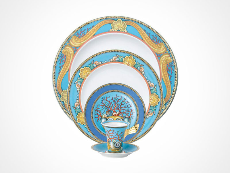 Versace La Mer bread and butter plate, salad plate, dinner plate, cup and saucer on white background.