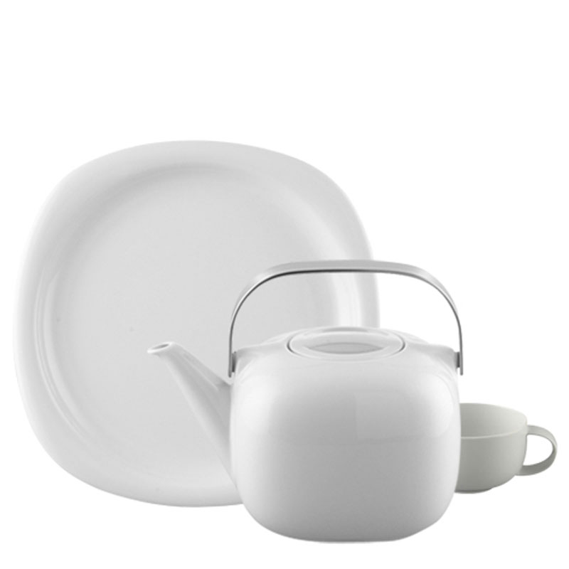 Rosenthal Suomi White plate, coffee pot and cup on white background