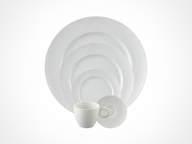 Thomas Vario White dinnerplate, bread and butter plate, salad plate and cup on white background.