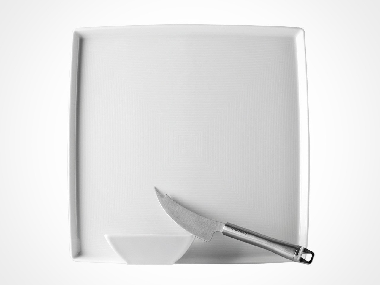 Thomas by Rosenthal cheese set containing square tray, cheese knife and small square bowl on off white background.