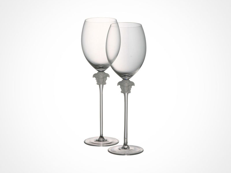 Versace Lumiere wine glasses on white background.