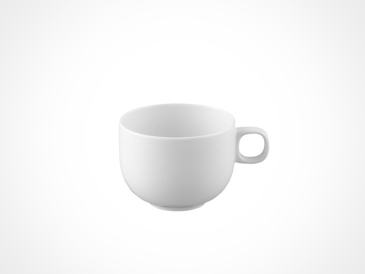 Rosenthal Moon White coffee cup on white background.