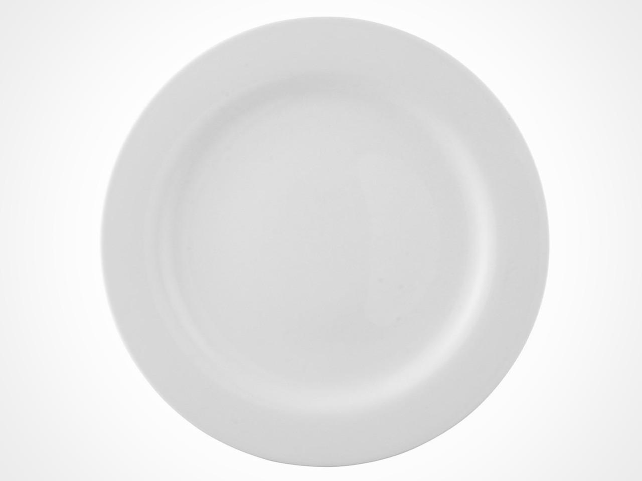 Rosenthal Moon White dinner plate on white background.