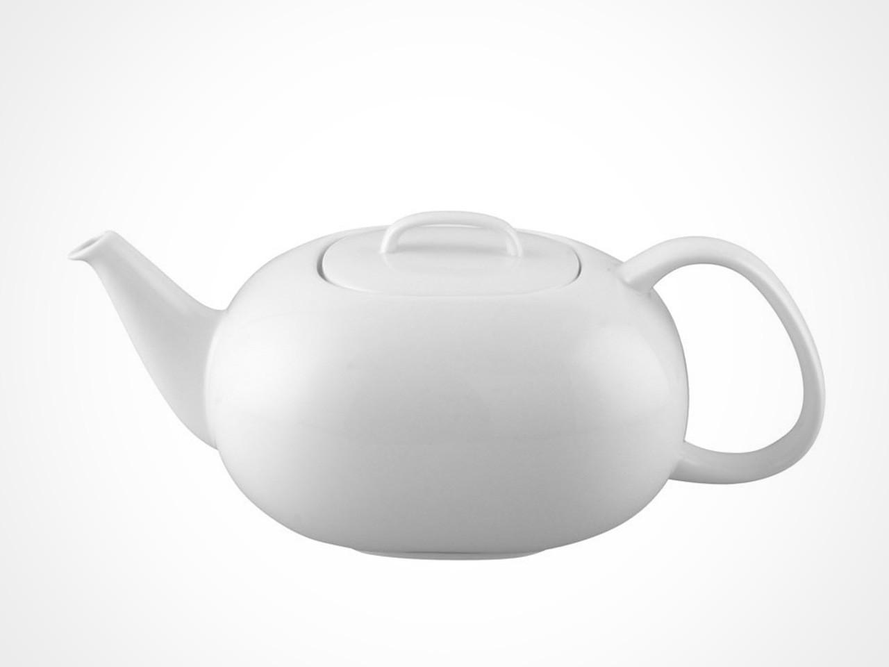 Rosenthal Moon White tea pot on white background.