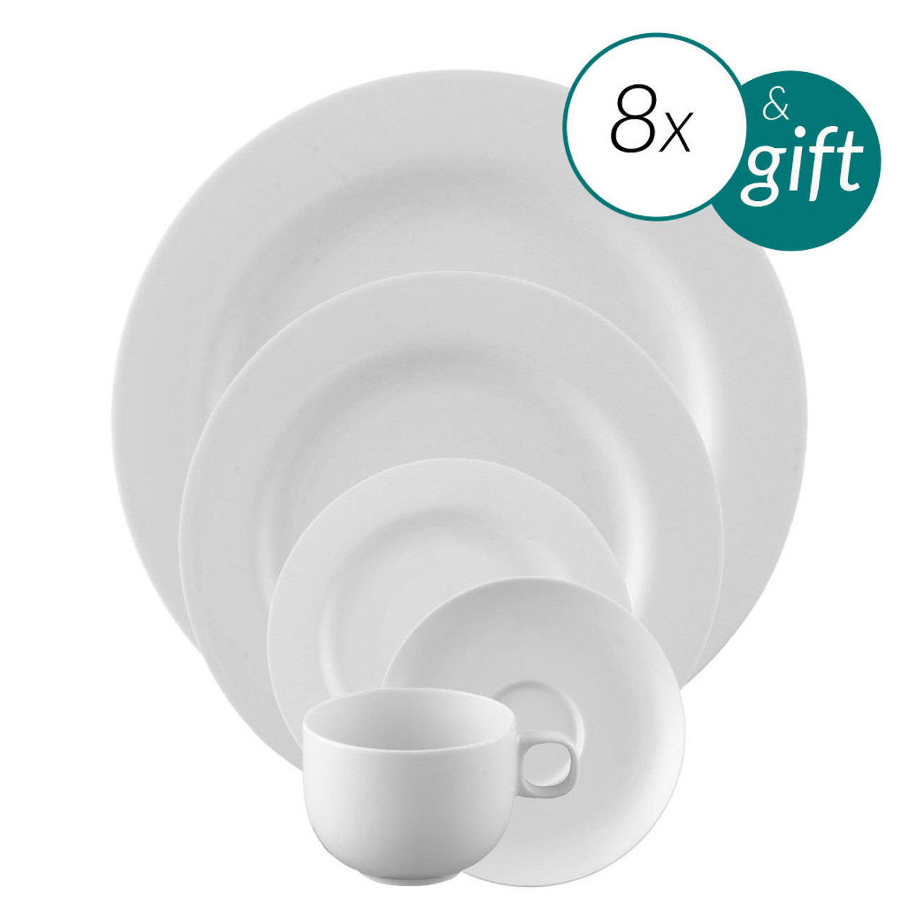 40 Piece Dinnerware set with free serving bowl | Moon White  sc 1 st  Rosenthal & 40 Piece Dinnerware set with free serving bowl | Moon White ...