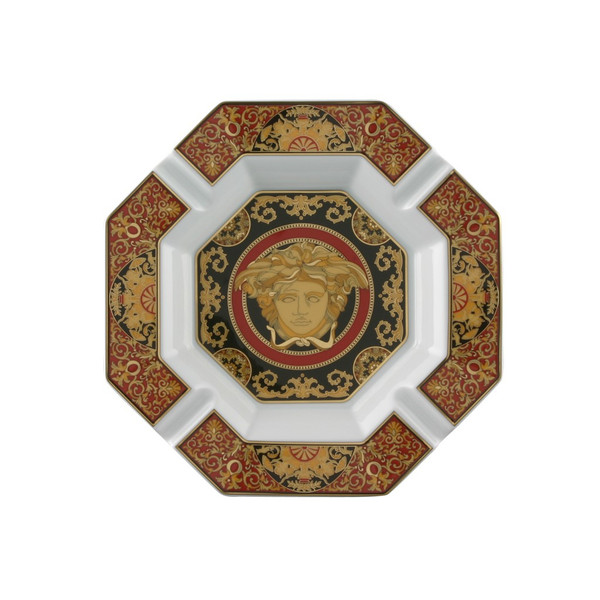 Ashtray, Porcelain, 9 inch | Versace Medusa Red