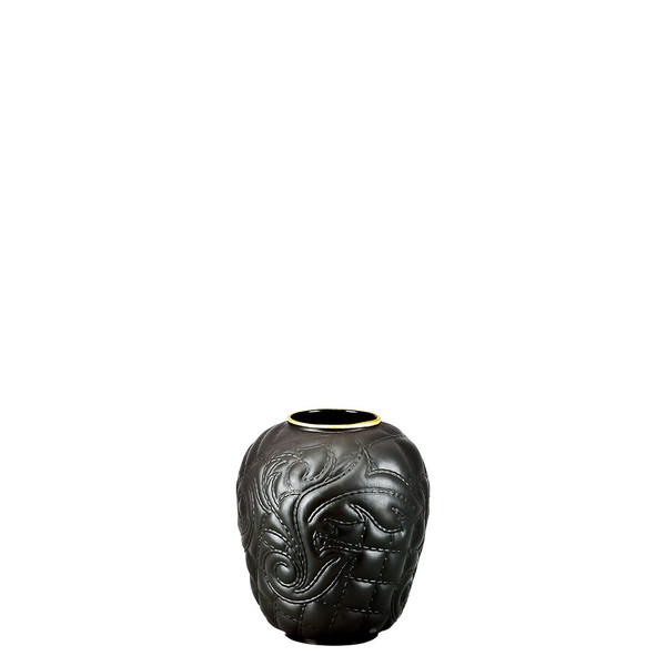 Black-goldrim Vase, 4 inch | Vanitas Black