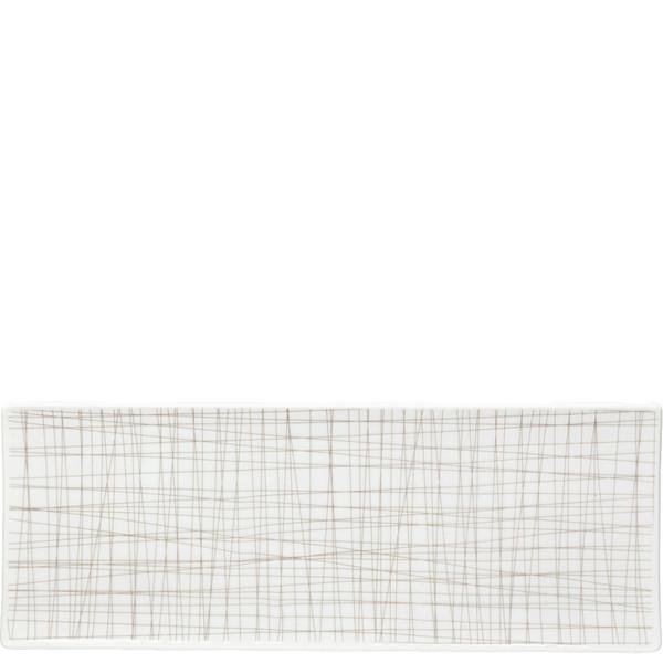 Rectangular Platter, 13 1/2 x 5 inch   Mesh Lines Walnut