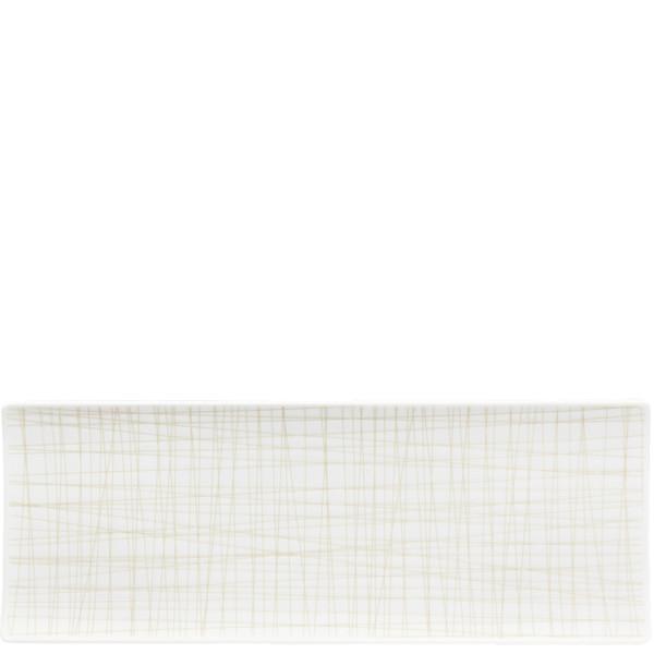Rectangular Platter, 13 1/2 x 5 inch   Mesh Lines Cream