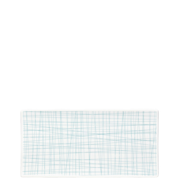 Rectangular Platter, 10 1/4 x 5 inch | Mesh Lines Aqua