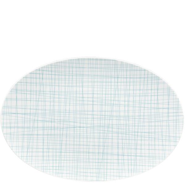 Oval Platter, 15 inch | Rosenthal Mesh Lines Aqua