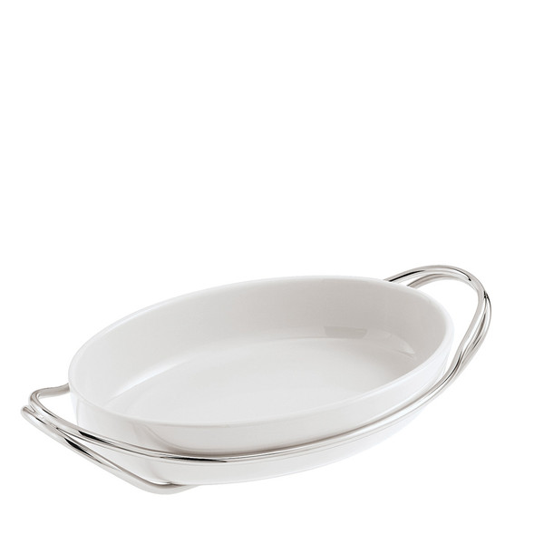Oval Dish in Holder, Silverplated, 15 1/4 x 10 1/2 inch | Sambonet New Living Silverplated