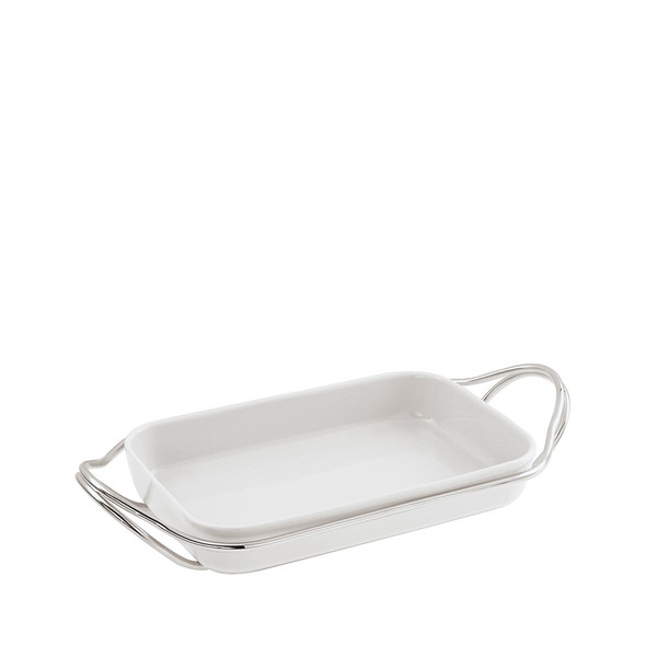 Rectangular Dish in Holder, Mirror finish, 13 3/4 x 8 2/3 inch | New Living Mirror