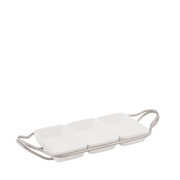 Rectangular Hors D'oeuvre in Holder, Antico finish, 14 1/4 x 7 inch | New Living Antico