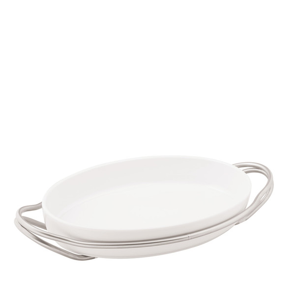 Oval Dish in Holder, Antico finish, 15 1/4 x 10 1/2 inch | New Living Antico