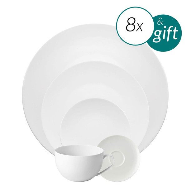 40 Piece Dinnerware set with free serving bowl | TAC 02 White