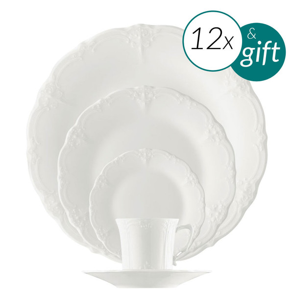 60 Piece Dinner Setting with 3 free serving pieces | Baronesse White