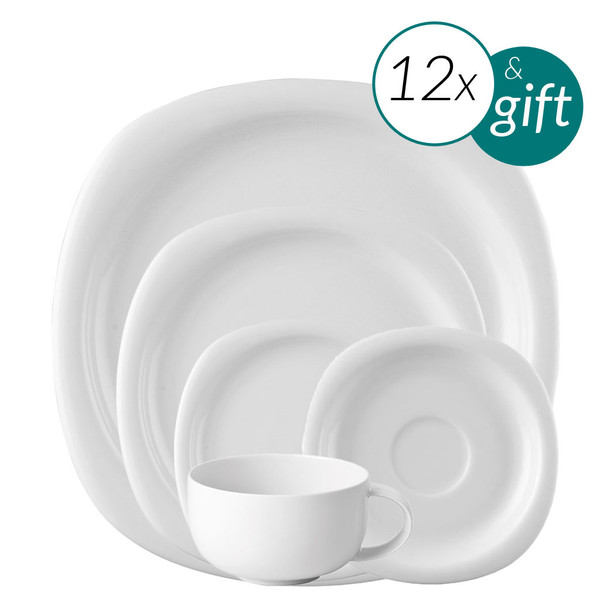 60 Piece Dinner Setting with 3 free serving pieces | Suomi White