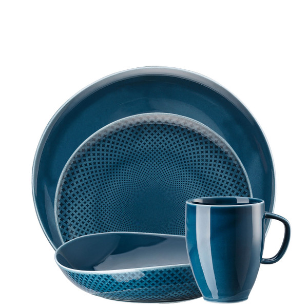 4 Piece Place Setting, Ocean Blue | Junto