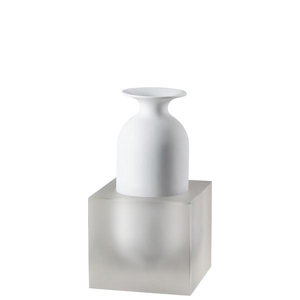 Vase, 2 pieces, White / Glass, 9 inch | Freddo