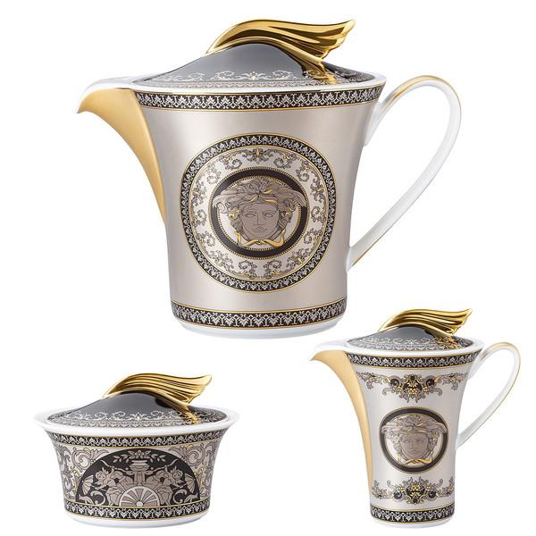 Tea Pot, Sugar Bowl, Creamer, 3 pieces | 25 Years Medusa Silver