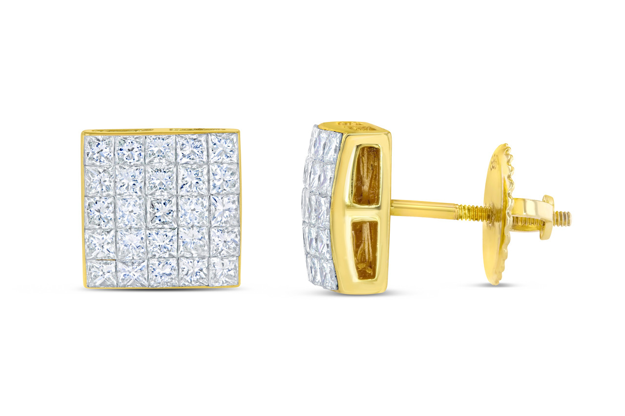 earrings blue cut l set princess invisible yellow diamond stud gold ctw
