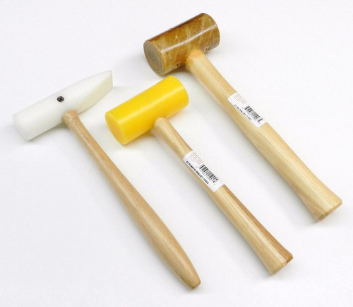 NON MARRING MALLETS NYLON PLASTIC & RAWHIDE HAMMER JEWELRY 3 PC