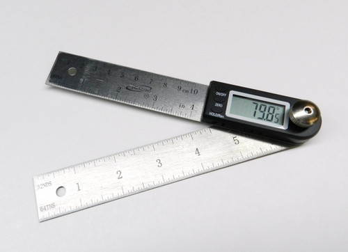 "4"" DIGITAL ELECTRONIC ANGLE FINDER PROTRACTOR & RULE 7"" LONG"