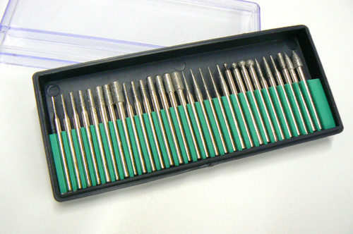 "30 DIAMOND BURS SET 1/8"" SHANK 180 GRIT LAPIDARY JEWELERS ROTA"