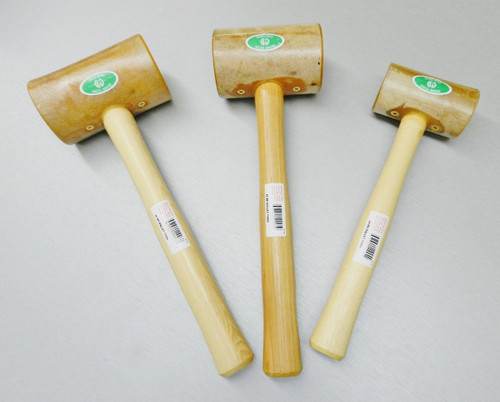 3 RAWHIDE MALLETS LARGE SET HAMMER WOOD LEATHER METAL WORK #4 #5 #6 GARLAND USA