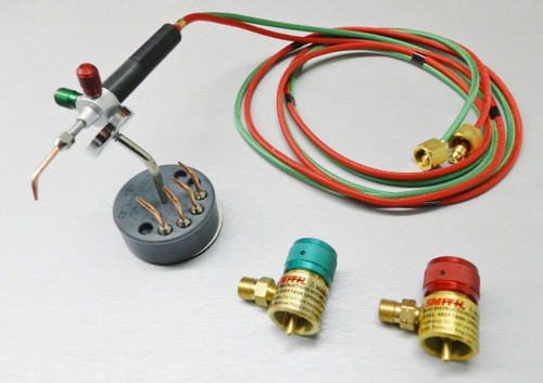 SMITH LITTLE TORCH WITH 5 TIPS + REGULATORS & MAGNETIC STAND JEWELRY SOLDERING USA