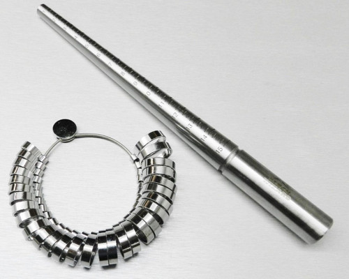 STEEL RING MANDREL & METAL FINGER SIZER SET,  GRADUATED SIZES 1-15