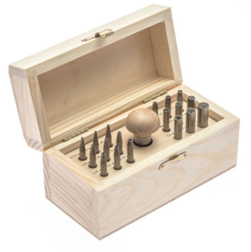 Bezel Setting Tools Punch Set with 18 punches in Wood Box (sizes 0.75mm to 7.75mm)