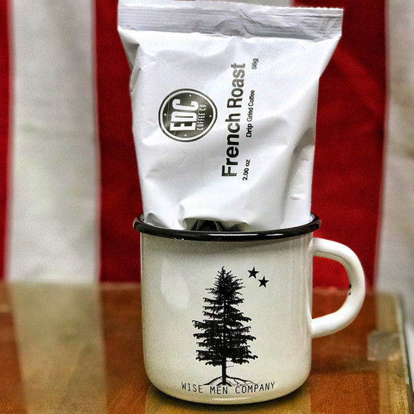 The Wise Men Coffee Cup comes with a coupon code for a FREE sample of EDC Coffee Co coffee