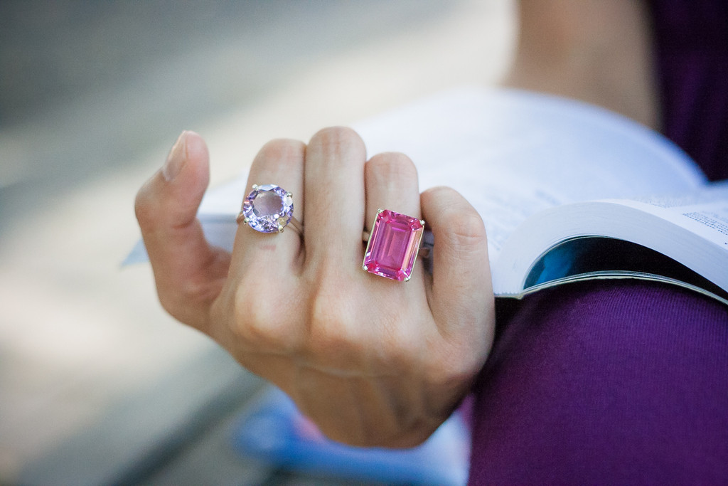 Round Brilliant Cut Pink Sapphire Sterling Silver Ring
