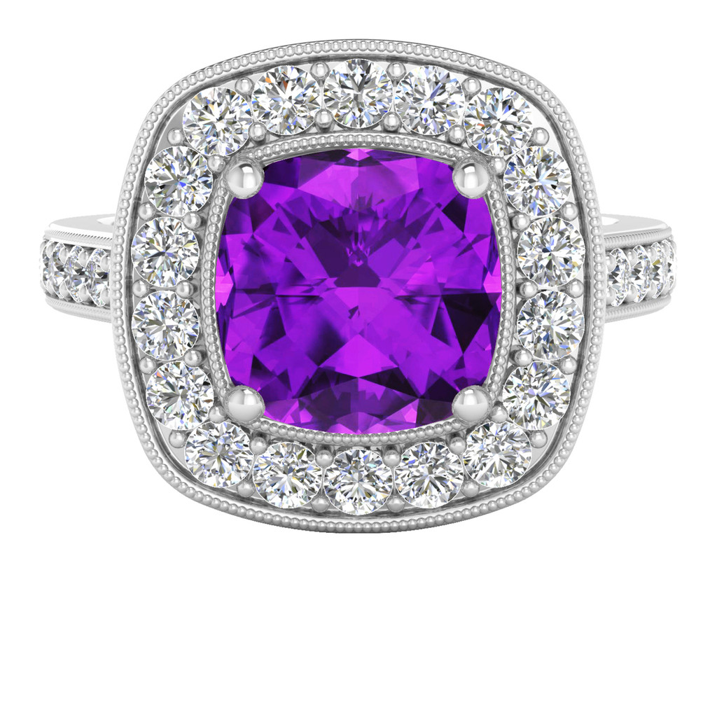 Cushion Diamond Halo Ring with Amethyst (White Gold)