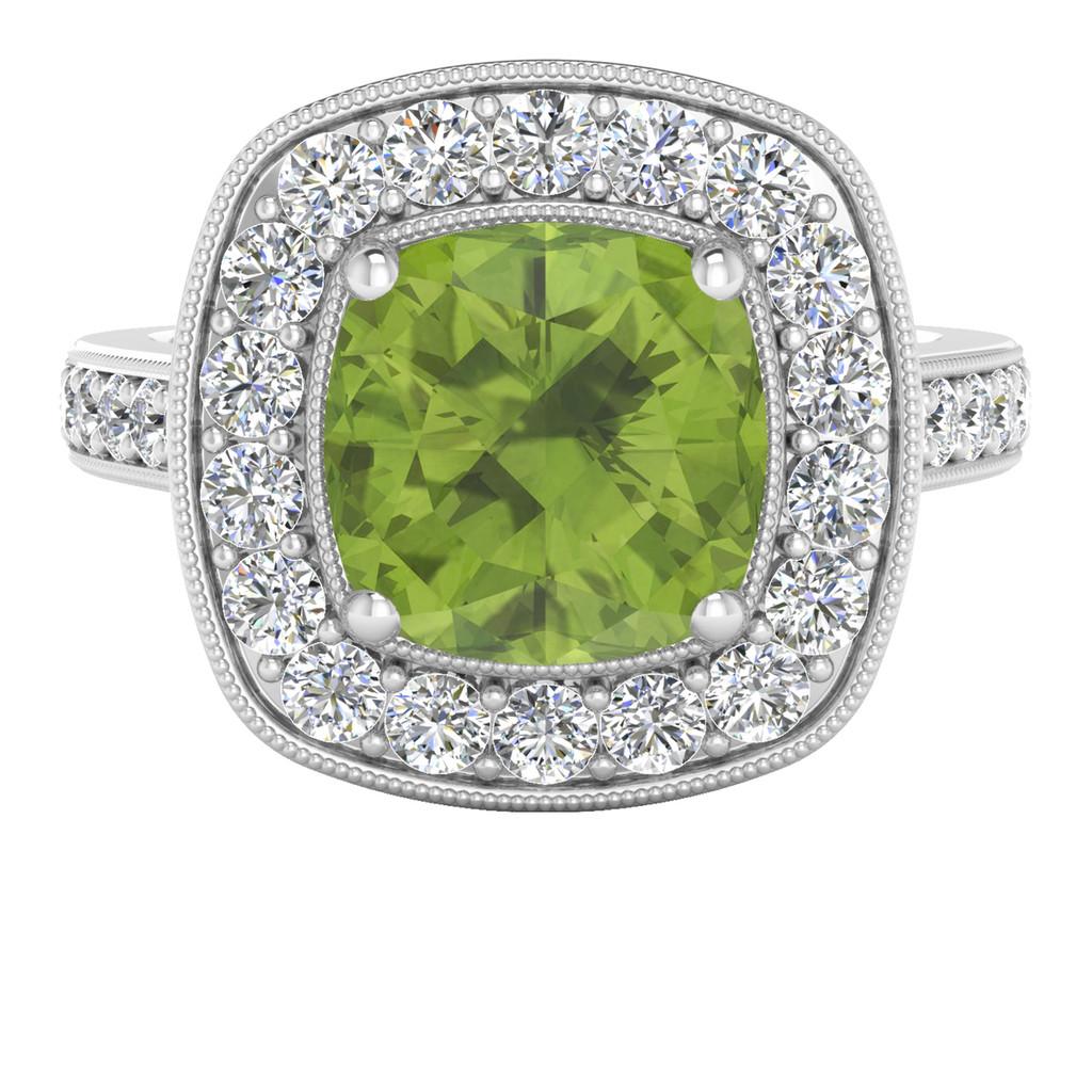 White Gold Cushion Peridot Diamond Halo Ring