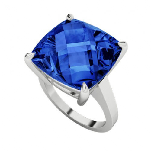 Cushion Checkerboard Blue Sapphire Sterling Silver Ring