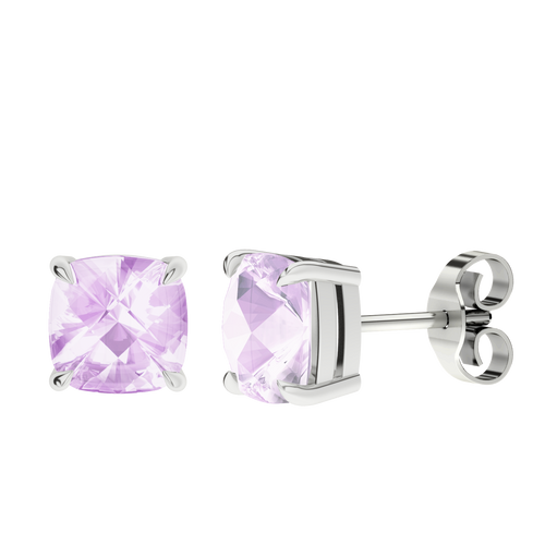 Pink Amethyst Silver Checkerboard Stud Earrings