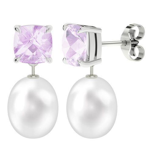 Pink Amethyst Cushion Checkerboard Studs with Drop Pearl - 9ct White Gold