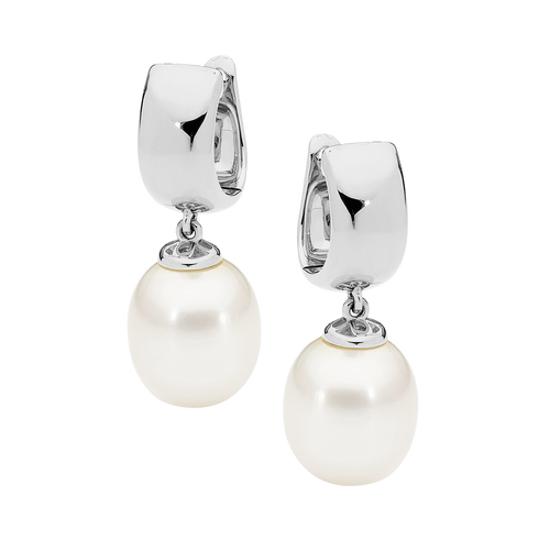 9ct White Gold White Drop Pearl Earrings