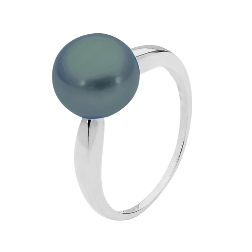 9ct White Gold 9mm Black Button Pearl Ring