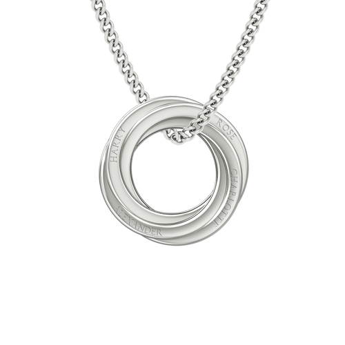 Russian Rings Necklace - the 'Cate' - 14ct White Gold