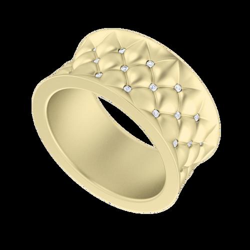 Lattice Diamond Ring 9 Carat Yellow Gold