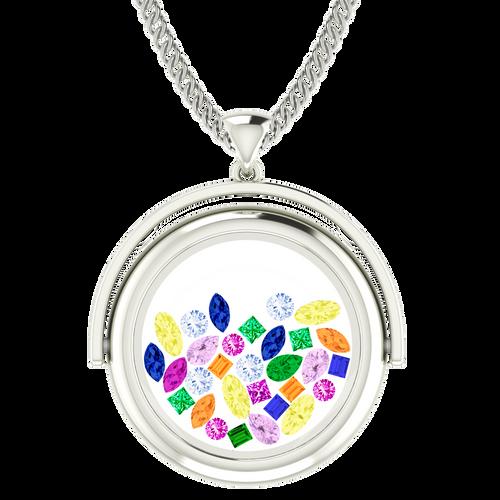 Rainbow Gemstone Glass Pendant 9 Carat White Gold