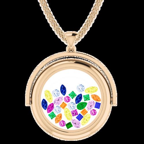 Rainbow Gemstone Glass Pendant 9 Carat Rose Gold