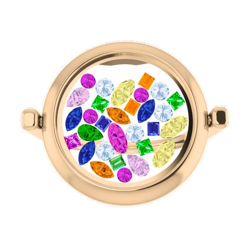 Rainbow Gemstone Glass Ring 9 Carat Rose Gold