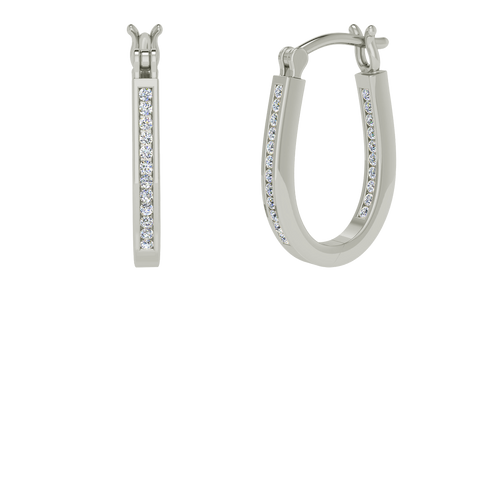 Single white gold and diamond narrow hoop