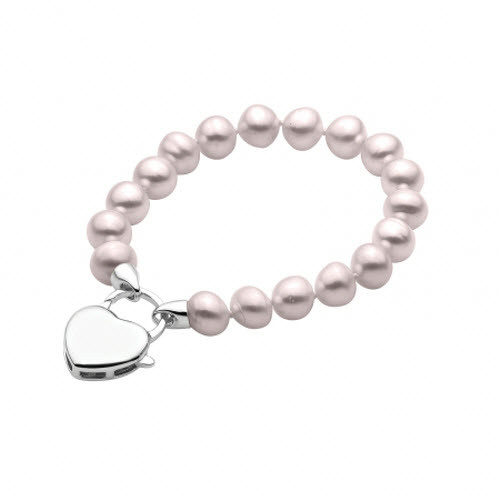 Pink Pearl Bracelet with Sterling Silver Heart Clasp