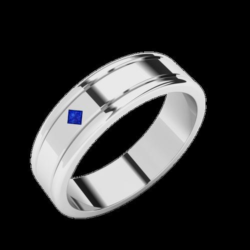 Sapphire Men's Wedding Ring - 9ct White Gold